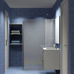Render del baño - vista lateral