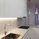 Reforma integral de casa de dos pisos - piso 1 - cocina abierta con península